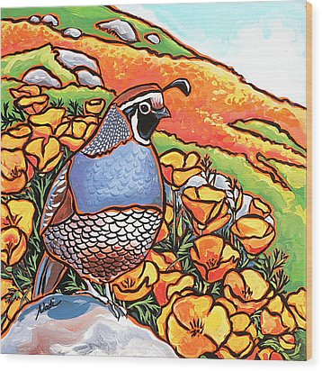 Quail Poppies Wood Print by Nadi Spencer