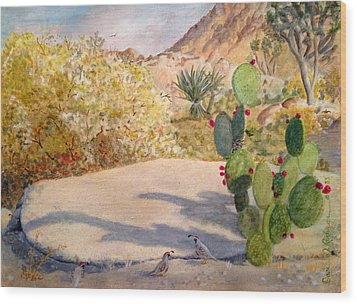 Wood Print featuring the painting Quail Valley by Dan Redmon