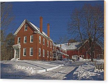 Quaint Maine Winter Farm Wood Print by Catherine Melvin