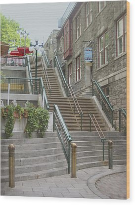 quaint  street scene  photograph THE BREAKNECK STAIRS of QUEBEC CITY   Wood Print