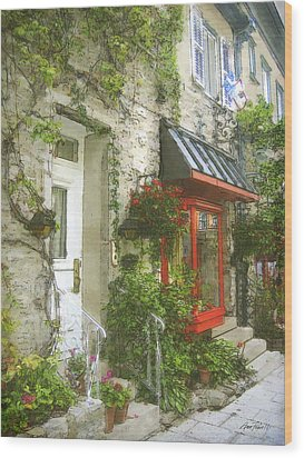 Quaint Street Scene Quebec City Wood Print