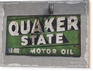 Quaker State Motor Oil Wood Print by Janice Rae Pariza