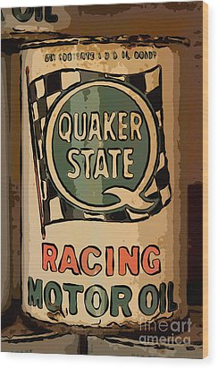 Quaker State Oil Can Wood Print