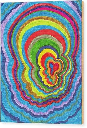 Quakey Breakie Heart Wood Print by Brenda Adams