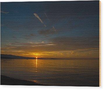 Qualicum Sunset II Wood Print by Randy Hall