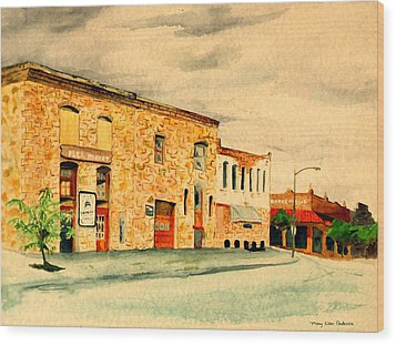Wood Print featuring the painting Quantrill's Flea Market - Lawrence Kansas by Mary Ellen Anderson