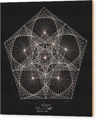Wood Print featuring the drawing Quantum Star II by Jason Padgett