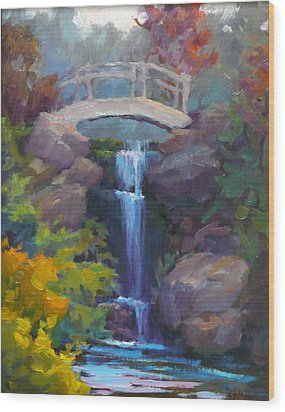 Quarry Hills Waterfall Wood Print by Carol Smith Myer