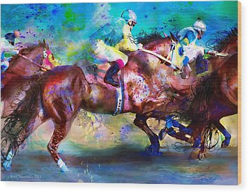 Wood Print featuring the digital art Quarter Racing Blues by Kari Nanstad