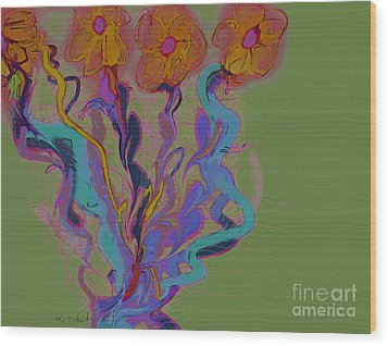 Wood Print featuring the digital art Quartet by Gabrielle Schertz