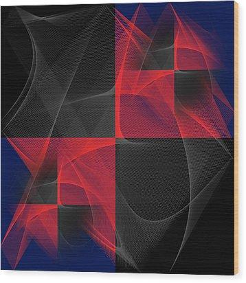 Wood Print featuring the digital art Quatrin by Karo Evans