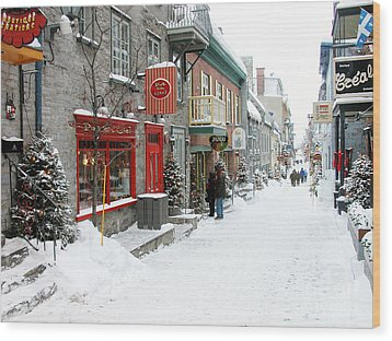 Quebec City In Winter Wood Print