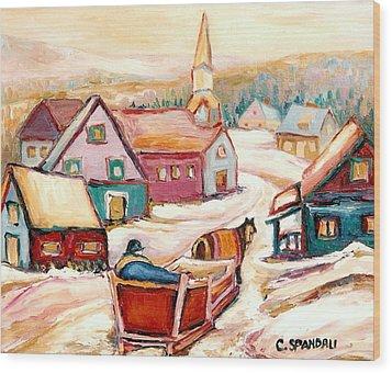 Quebec City Street Scene Caleche Ride In The Village Wood Print by Carole Spandau