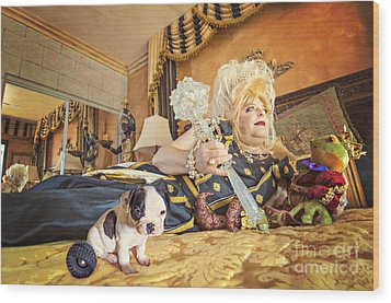 Queen And The Frog Wood Print by Danilo Piccioni