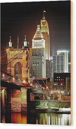 Queen City At Night Wood Print