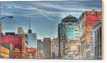 Queen City Downtown Wood Print