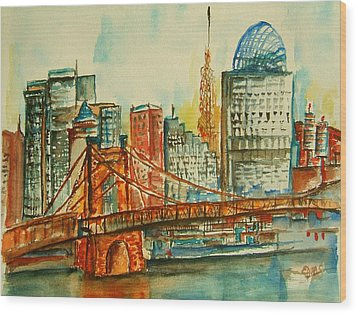 Queen City Skyline Cincinnati Oh Wood Print