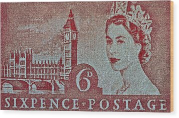 Queen Elizabeth II Big Ben Stamp Wood Print by Bill Owen
