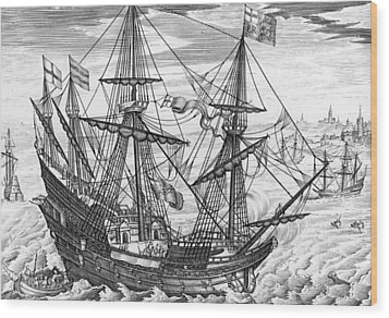 Queen Elizabeth S Galleon Wood Print by English School