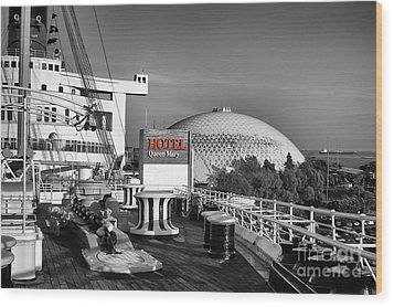 Queen Mary On Deck Wood Print by Mariola Bitner