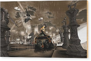 Queen Of Hearts - Losing The Game Wood Print by Amanda Holmes Tzafrir
