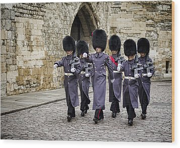 Queens Guard Wood Print by Heather Applegate