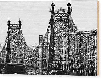 Queensborough Or 59th Street Bridge Wood Print by Steve Archbold