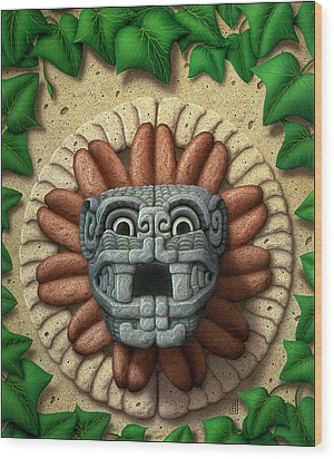 Wood Print featuring the painting Quetzalcoatl by WB Johnston