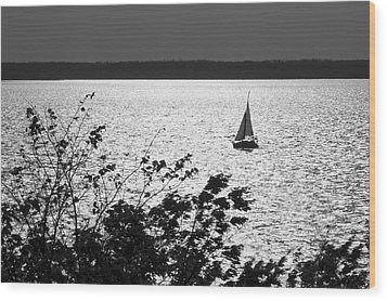 Quick Silver - Sailboat On Lake Barkley Wood Print by Jane Eleanor Nicholas