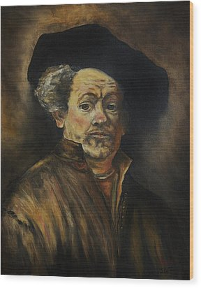 Quick Study Of Rembrandt Wood Print by Stefon Marc Brown