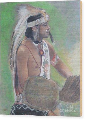 Wampanoag Dancer Wood Print by Terri Ana Stokes