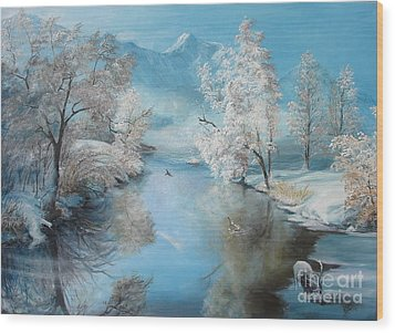 Wood Print featuring the painting Quiet Ice  by Sorin Apostolescu