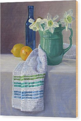 Quiet Moment- Daffodils In A Blue Green Pitcher With Lemons Wood Print