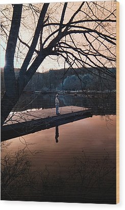 Wood Print featuring the photograph Quiet Moment Reflecting by Rebecca Parker