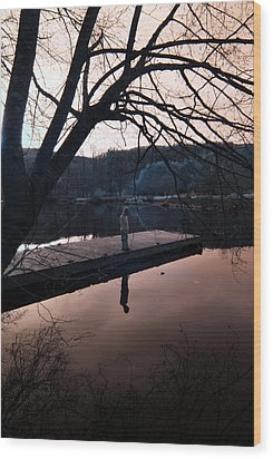 Wood Print featuring the photograph Quiet Moments Reflecting by Rebecca Parker