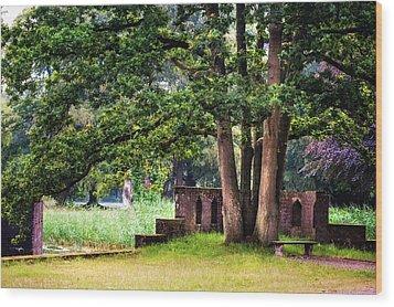 Quiet Park Corner. De Haar Castle Wood Print by Jenny Rainbow