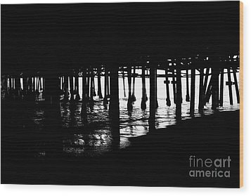 Quiet Pier Pillars Wood Print