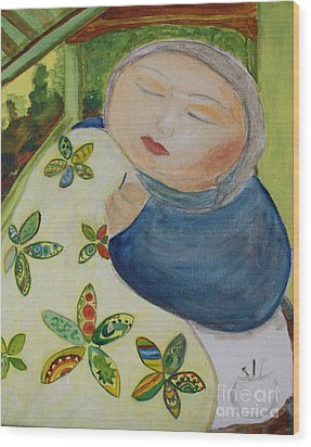 Quiet Quilter Wood Print by Teresa Hutto