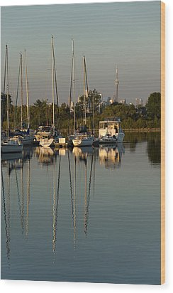 Quiet Summer Afternoon - Sailboats And Downtown Skyline Wood Print by Georgia Mizuleva