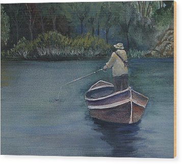 Wood Print featuring the painting Quietude by Jan Cipolla