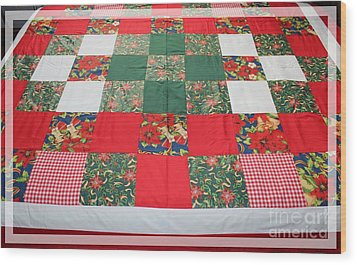 Quilt Christmas Blocks Wood Print by Barbara Griffin