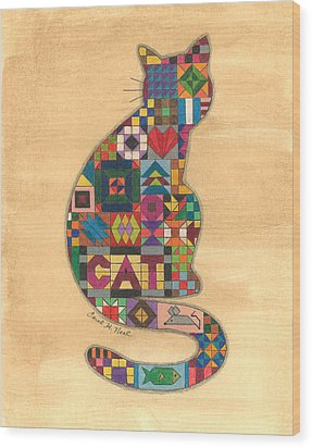 Quilted Cat Wood Print