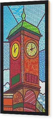 Quilted Clock Tower Wood Print by Jim Harris