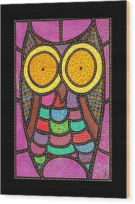 Quilted Owl Wood Print by Jim Harris