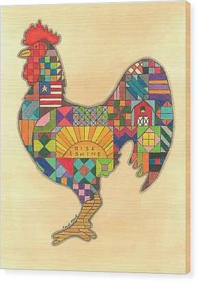 Quilted Rooster Wood Print