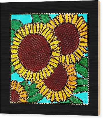 Quilted Sunflowers Wood Print by Jim Harris