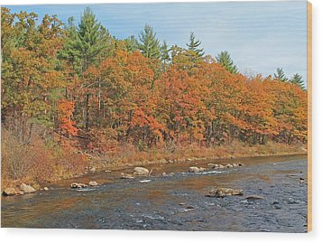 Quinapoxet River In Autumn Wood Print