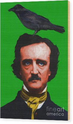 Quoth The Raven Nevermore - Edgar Allan Poe - Painterly - Green - Standard Size Wood Print by Wingsdomain Art and Photography