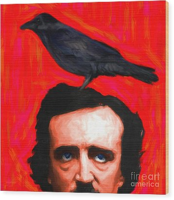 Quoth The Raven Nevermore - Edgar Allan Poe - Painterly - Square Wood Print by Wingsdomain Art and Photography