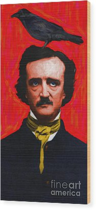 Quoth The Raven Nevermore - Edgar Allan Poe - Painterly Wood Print by Wingsdomain Art and Photography